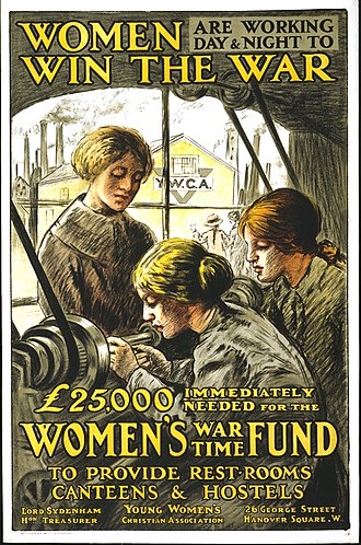 Hostel - This poster, dating from 1915, promotes supporting the Women's War Time Fund, which provided hostel housing to women workers during the First World War