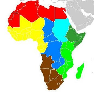 Sub-Saharan African music traditions - Geo-political map of Africa divided for ethnomusicological purposes, after Merriam, 1959.
