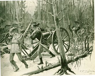 St. Clair's Defeat - Illustration from Theodore Roosevelt's article on St. Clair's Defeat, featured in Harper's New Monthly Magazine, February 1896.