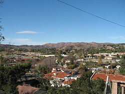 View of Agoura Hills looking from southern edge of the Historic Quarter in December 2006.