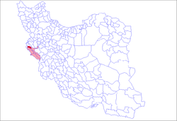 Location of the Eyvan County (red) within Iran with Ilam province depicted in light red.