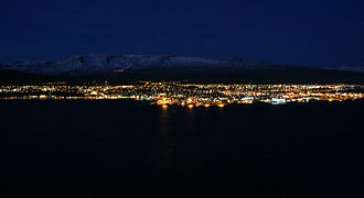 Akureyri - Akureyri, with Hlíðarfjall behind, viewed from the eastern shore of Eyjafjörður, morning November 2007