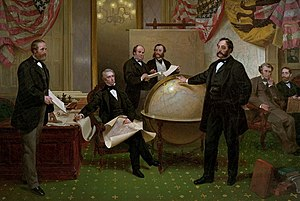 Alaska Purchase - The signing of the Alaska Treaty of Cessation on March 30, 1867. L–R: Robert S. Chew, William H. Seward, William Hunter, Mr. Bodisco, Eduard de Stoeckl, Charles Sumner and Frederick W. Seward.