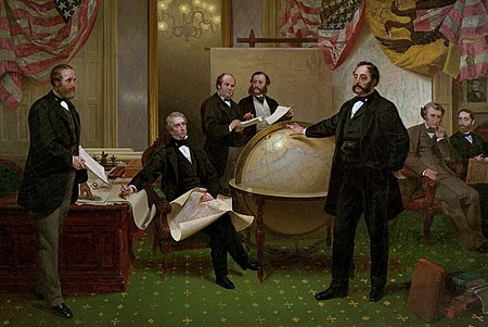 The signing of the Alaska Treaty of Cessation on March 30, 1867. Left to right: Robert S. Chew, William H. Seward, William Hunter, Mr. Bodisco, Eduard de Stoeckl, Charles Sumner, and Frederick W. Seward. Alaska purchase.jpg