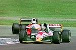 Alessandro Zanardi - Lotus 107 leads Luca Badoer - Lola T93-30 during practice for the 1993 British Grand Prix (33686793315).jpg
