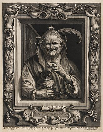 Alexander Voet the Younger - Old fool with his cat, after Jordaens