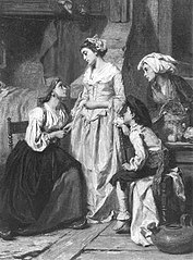 Een dame bezoekt een gezin
