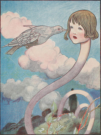 A large pigeon bumps into Alice's face while her long, serpentine neck protrudes from the forest below.