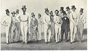 Alfred Mynn - Alfred Mynn (fourth from left) and other members of William Clarke's All-England Eleven in 1847. The image emphasises Mynn's massive stature.