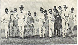 Non-international England cricket teams - William Clarke (centre, wearing tall hat) with his All-England Eleven team in 1847.