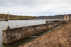 National Register of Historic Places listings in Armstrong County, Pennsylvania - Image: Allegheny River Lock and Dam No. 8 wide
