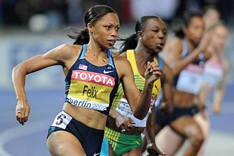 Allyson Felix - Felix during the 200 m final at the 2009 World Championships