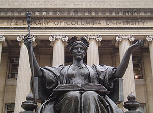 Alma Mater (Illinois sculpture) - Taft's Alma Mater contrasts with the cold reserve of Daniel Chester French's Alma Mater at Columbia University in New York.