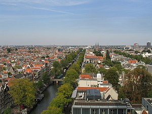 Taken from the top of the Westerkerk church, this image shows the Prinsengracht canal and the rooftops of the buildings in the neighborhood