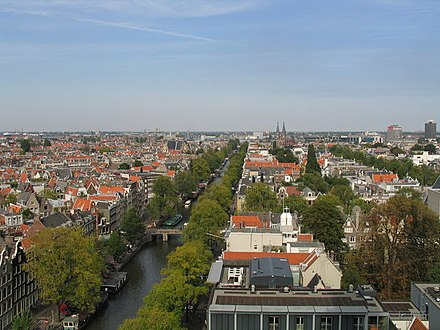 The Secret Annex with its light-coloured walls and orange roof (bottom) and the Anne Frank tree in the garden behind the house (bottom right), seen from the Westerkerk in 2004