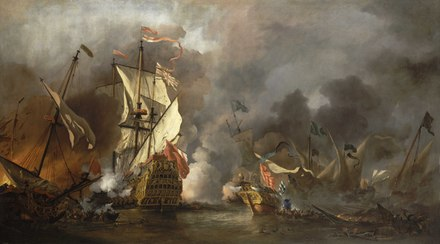 An English ship battles with a Barbary ship and two galleys in Tripoli in 1676 An English Ship in Action with Barbary Vessels RMG BHC0893.tiff