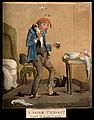 An ill man taking a gargling mixture for a sore throat. Colo Wellcome V0011148.jpg