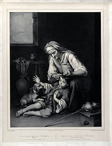 An old woman picking fleas from a young boy's hair. Lithogra Wellcome V0019962.jpg