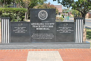 Angelina County, Texas - Angelina County Peace Officers Memorial at the courthouse
