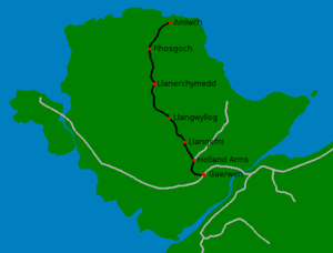 Anglesey Central Railway - The principal route of the Anglesey Central Railway, and other nearby lines