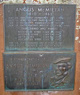 Angus McMillan - Memorial cairn at Iguana Creek on the Dargo Road, listing dates of McMillan's major expeditions