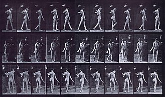 Multiple sclerosis signs and symptoms - Photographic study of locomotion of a MS female patient with walking difficulties and spasticity created in 1887 by Muybridge