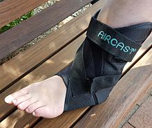 A brace offering moderate support and compression for a Grade I ankle sprain.