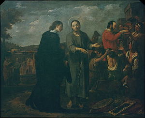 Antoni Viladomat - Bernat de Quintaval Distributes his Riches to the Poor - Google Art Project.jpg