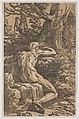 Antonio da Trento (podle Parmigianino), Narkkisos a Echó (1520-1550), šerosvitový dřevořez, tisk ze dvou desek, papír 290 x 187 mm, Sbírka grafiky Národní galerie v Praze.jpg