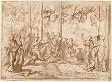 Il dipinto di Nicolas Poussin, Apollo e le muse sul monte Parnaso.