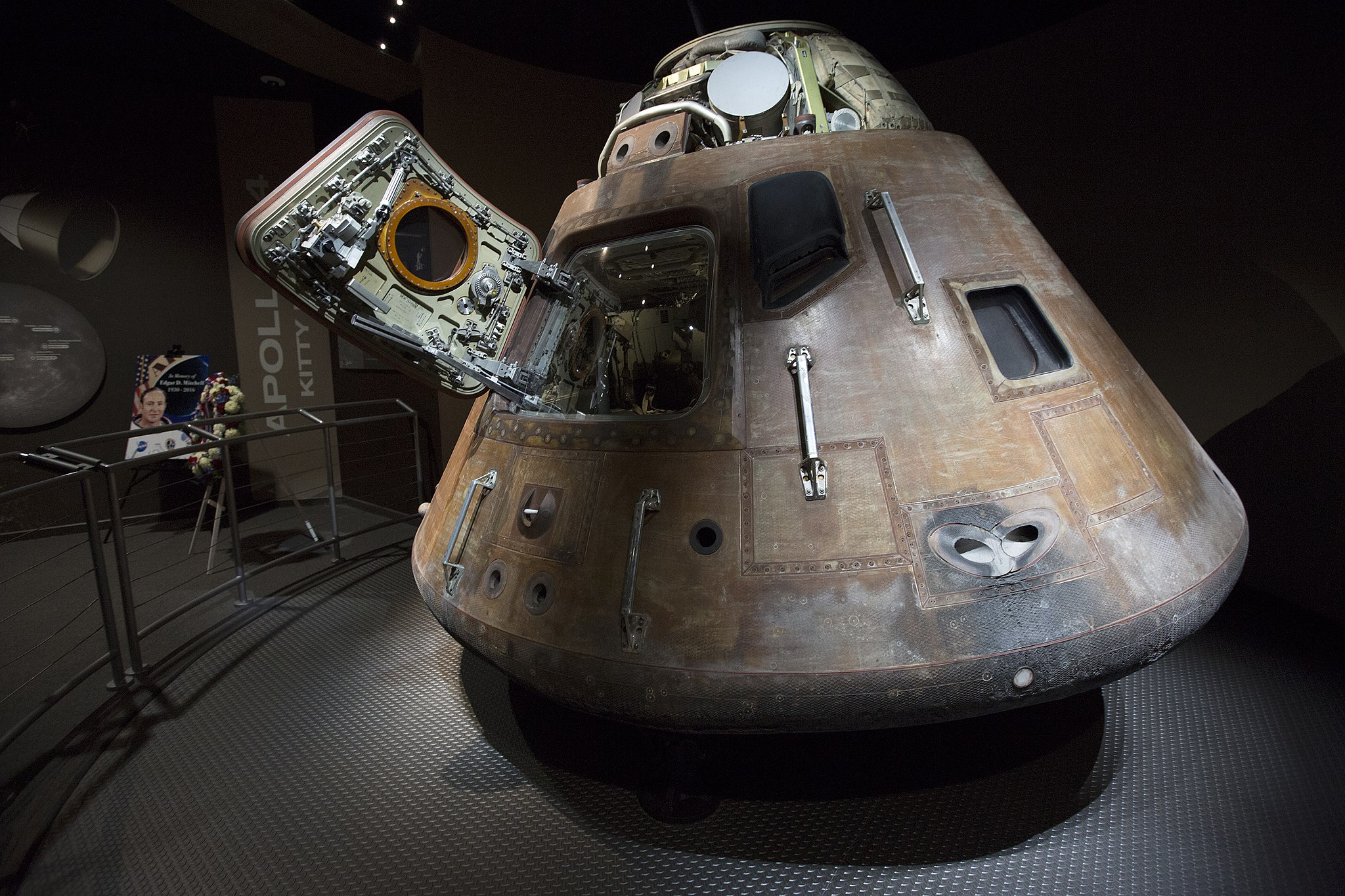 Apollo 14 command module with Edgar Mitchell's memorial wreath
