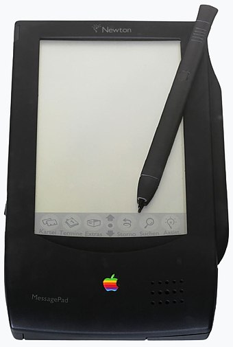 Apple Newton MessagePad, Apple's first produced tablet, released in 1993. Apple Newton-IMG 0454-cropped.jpg