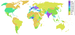 Map of world percentage arable land.
