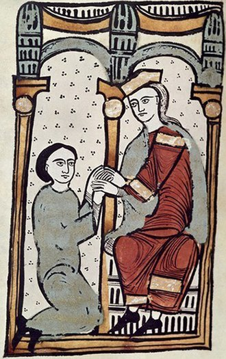 Ermengol II, Count of Urgell - Ermengol receiving the homage and fealty of Arnau Mir de Tost for the castle of Àger. From the Liber feudorum maior.
