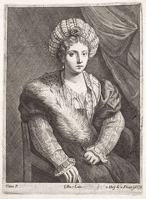 "Portrait of Isabella d'Este (Titian) - Engraving by Nikolaus van Hoy and Franciscus van der Steen showing the measurements of the original painting as ""6 alta 5 lata"" (6 palm-widths high by 5 palm-widths wide)"