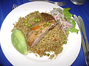 Lambayeque Region - Presentation of a dish of Arroz con pato.