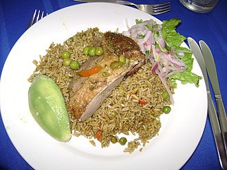 Department of Lambayeque - Presentation of a dish of Arroz con pato.