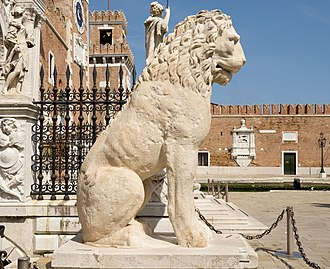 Greece runestones - The Piraeus Lion with a runic inscription, now in Venice