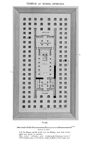 Temple of Artemis - Reconstructive plan of Temple of Artemis at Ephesus according to John Turtle Wood (1877).