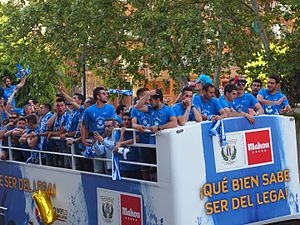 CD Leganés - The players, celebrating the promotion to La Liga in 2016.