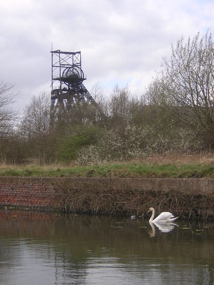 Astley Green Colliery's pithead, viewed from across the Bridgewater Canal AstleyGreenCollieryPithead.jpg