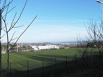 Bideford College - The artificial grass sports pitch at Bideford College.