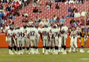 Atlanta Falcons - The Falcons playing against the Los Angeles Rams during a 1991 away game.