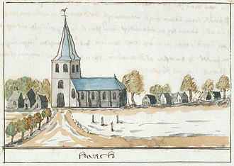 Harich, Friesland - An illustration depicting the village c. 1710-1735, from the Atlas Schoemaker, currently held at the Koninklijke Bibliotheek