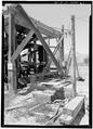 August, 1971. VIEW OF FRAMING TO N OF WHEEL. - Irrigation Water Wheel, Hastings Ranch, Green River, Emery County, UT HAER UTAH,10-GRENRI,1-10.tif