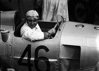 August Momberger - August Momberger in the cockpit of his Auto Union car, during practice for the 1934 Avusrennen