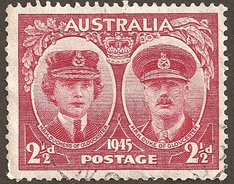 Princess Alice, Duchess of Gloucester - The Duchess of Gloucester and her husband on an Australian stamp in 1945.