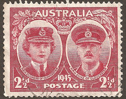 Stamp of Australia, 1945, showing the Duke and Duchess of Gloucester, when the Duke became Governor-General Australia stamp Gloucesters 1945.jpg