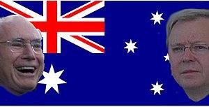 English: Faces of John Howard and Kevin Rudd o...