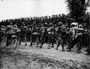Australian 6th Brigade marching Somme (AWM EZ0092)
